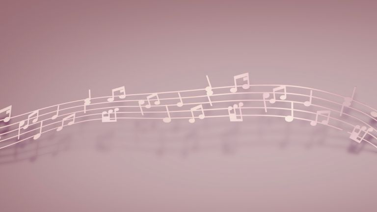musical notes on pink background