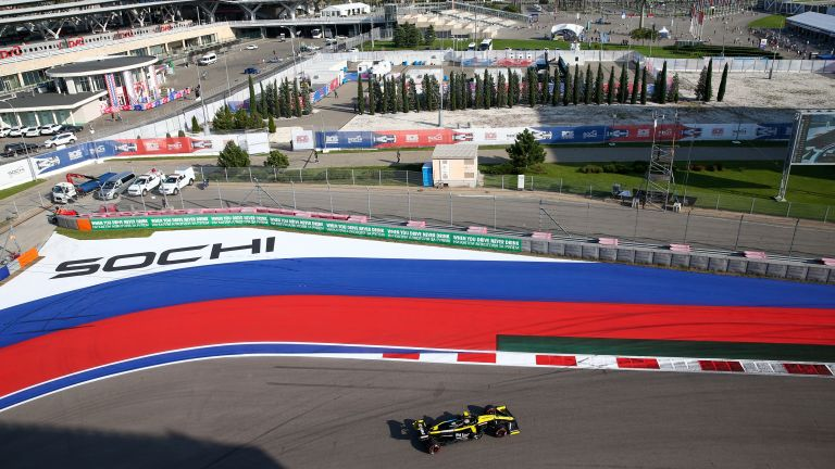 Renault F1 Team driver Daniel Ricciardo takes part in a free practice session at the 2020 Formula One Russian Grand Prix race at the Sochi Autodrom racing circuit.