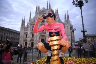 MILANO ITALY OCTOBER 25 Podium Tao Geoghegan Hart of The United Kingdom and Team INEOS Grenadiers Pink Leader Jersey Celebration Trofeo Senza Fine Trophy Duomo di Milano Milan Cathedral during the 103rd Giro dItalia 2020 Stage 21 a 157km Individual time trial from Cernusco sul Naviglio to Milano ITT girodiitalia Giro on October 25 2020 in Milano Italy Photo by Tim de WaeleGetty Images