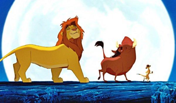 The Lion King Simba, Pumbaa, and Timon walking on a log