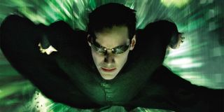 Keanu Reeves flying in the air in The Matrix Revolutions.