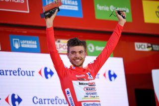Odd Christian Eiking (Intermarché-Wanty-Gobert) in the Vuelta a España's leader's jersey