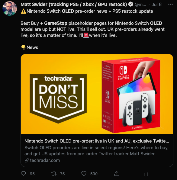 Nintendo Switch OLED pre-order GameStop Twitter alert