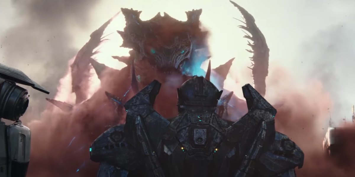 A Kaiju appears before a Yeager in Pacific Rim: Uprising
