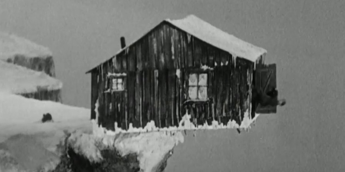 The Tramp's faulty cabin in The Gold Rush