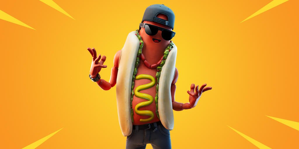 A Fortnite skin of a hot dog with shades
