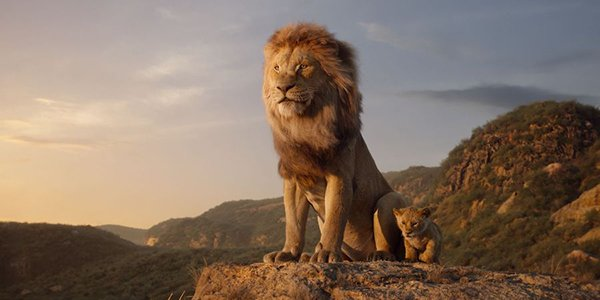 Mufasa and Simba looking out across the Pride Lands