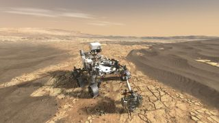 An artist's depiction of NASA's Mars 2020 rover caching samples for a future mission to bring back to Earth.