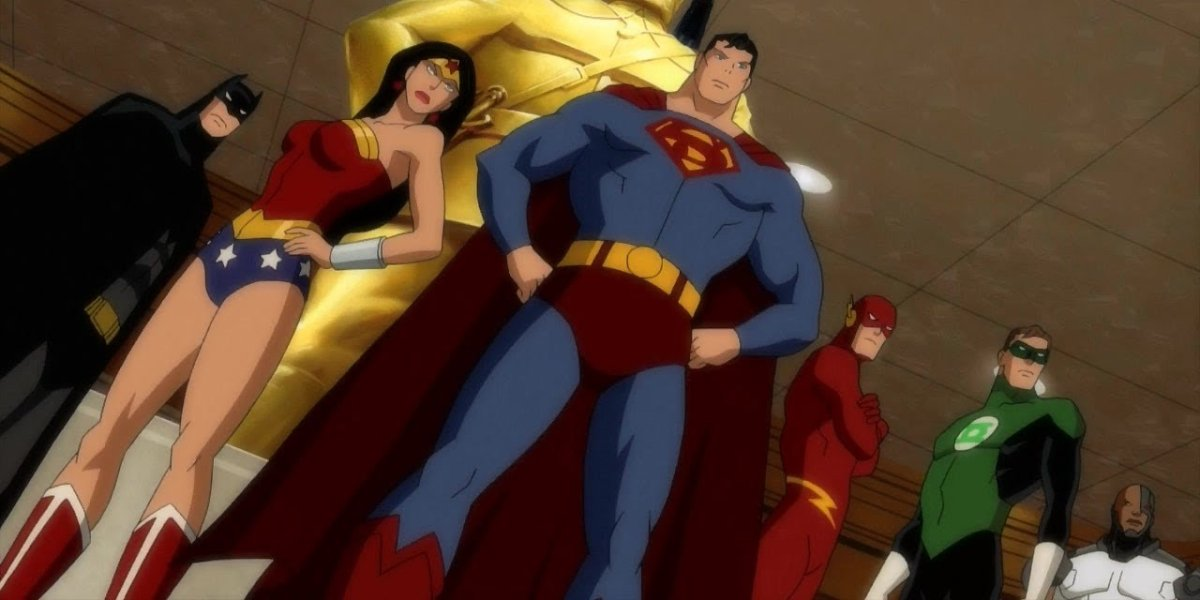 Batman, Wonder Woman, Superman, The Flash, Green Lantern, and Cyborg in Justice League: Doom
