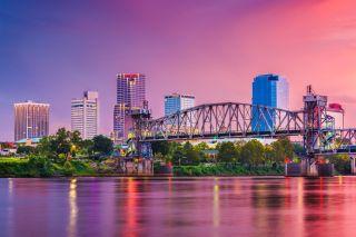 The skyline in Little Rock, Arkansas.