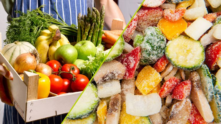 Frozen vs fresh foods: man holding a box of fresh fruit and veg alongside a close-up shot of frozen vegetables