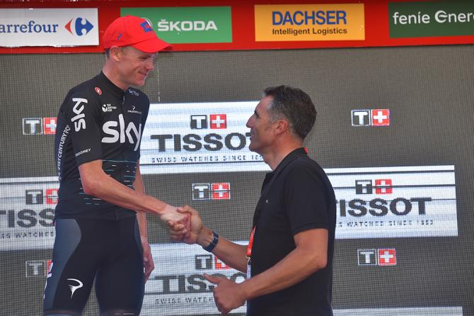 Chris Froome meets five-time Tour de France winner Miguel Indurain