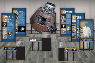"""The Cosmosphere's """"Apollo 13: A Mission of Survival"""" traveling exhibit includes display panels and real and replica items from the Kansas museum's collection."""