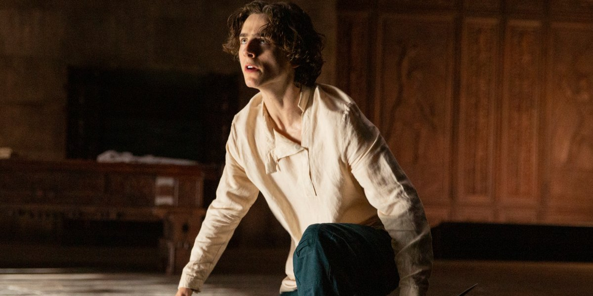 Timothée Chalamet rises from crouching in a stone room in Dune.