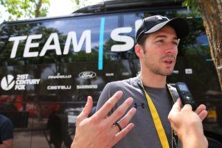 Team Sky – now Team Ineos – sports director Nicolas Portal talks to the press