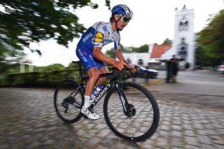 Julian Alaphilippe on the cobbles
