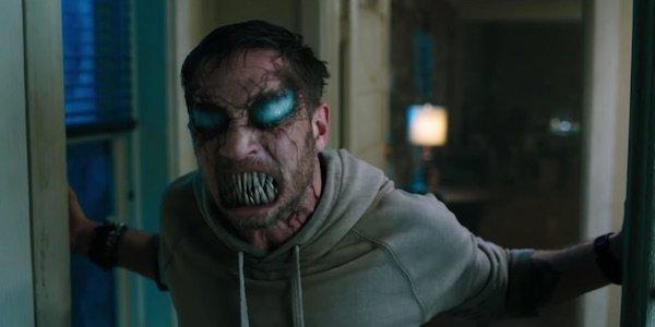 Tom Hardy looking demonic in Venom