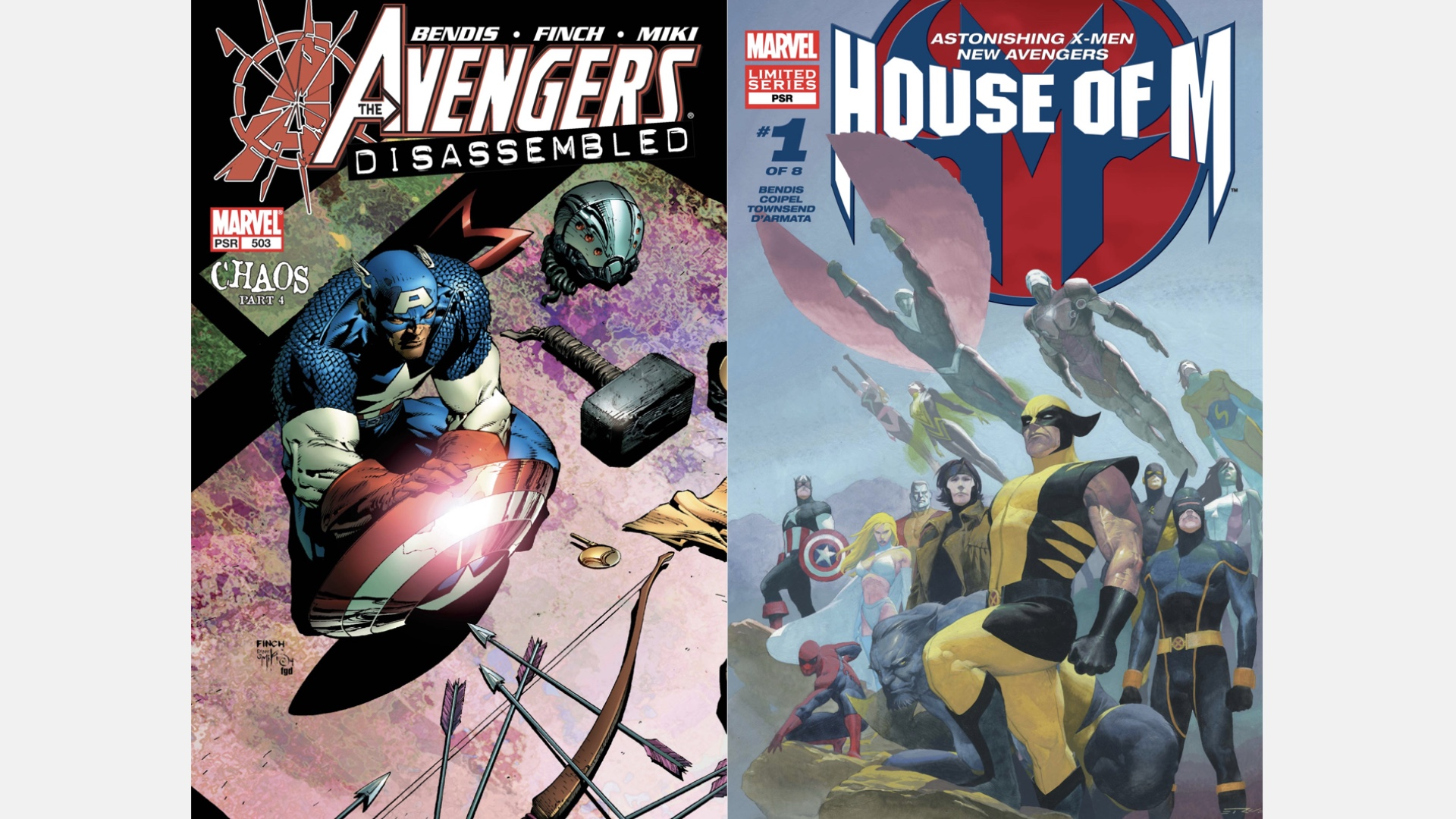 covers of Avengers #503 and House of M #1