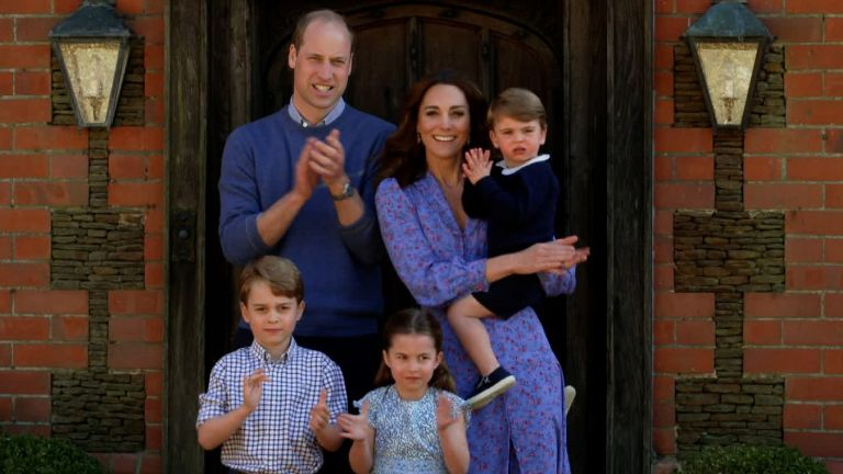 Prince William, Duke of Cambridge, Catherine Duchess of Cambridge, Prince George of Cambridge, Princess Charlotte of Cambridge and Prince Louis of Cambridge clap for NHS carers as part of the BBC Children In Need and Comic Relief 'Big Night In