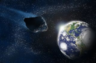 asteroid approaches earth from space