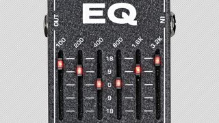 Close-up of an MXR 6-band EQ pedal