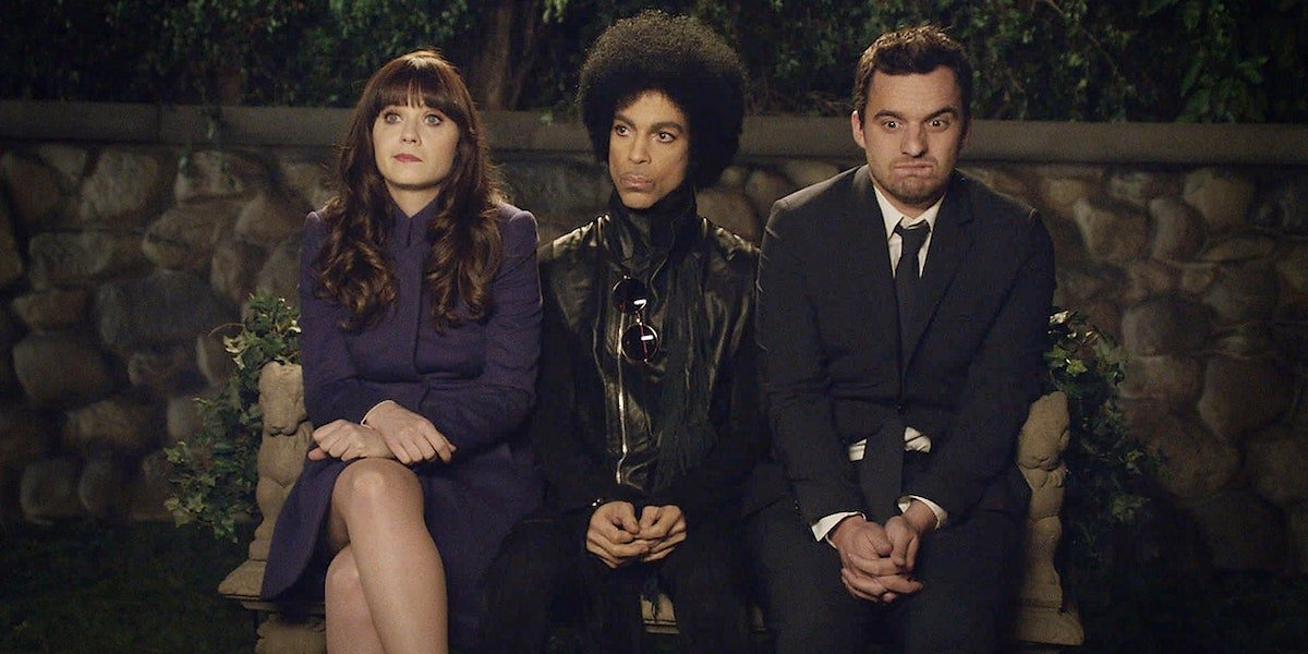 Zooey Deschanel, Prince and Jake Johnson in New Girl Season 3 episode