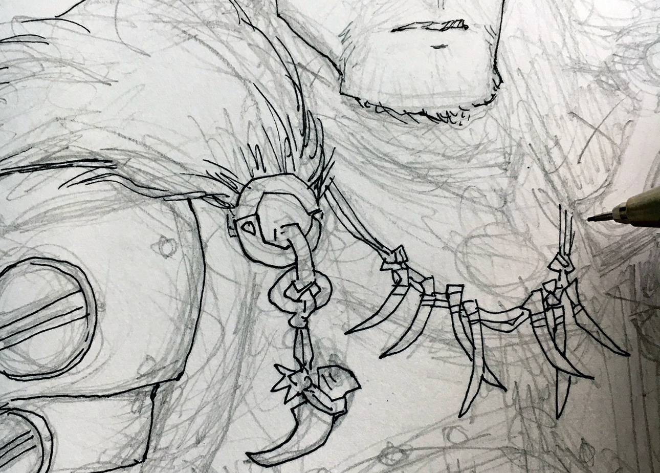 Dark pencil marks sketching out the necklace and cloak detail
