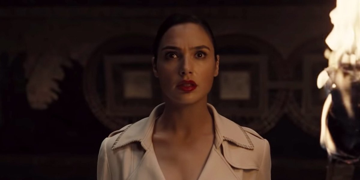 Diana (Gal Gadot) looks apprehensive as she stares at an object off-screen in a clip from 'Justice League'