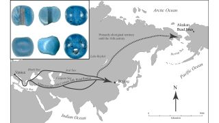 Archaeologists in Arctic Alaska have found blue beads (top left) from Europe, possibly Venice, that might predate Christopher Columbus' voyage to the New World.