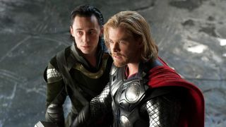 "Tom Hiddleston as Loki and Chris Hemsworth as Thor in the original ""Thor"" movie."