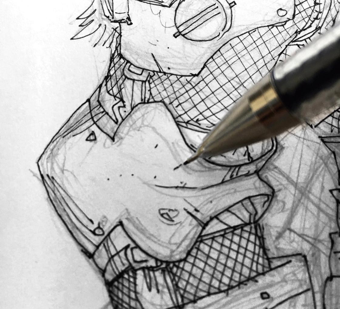 Pen inking detail onto the body armour