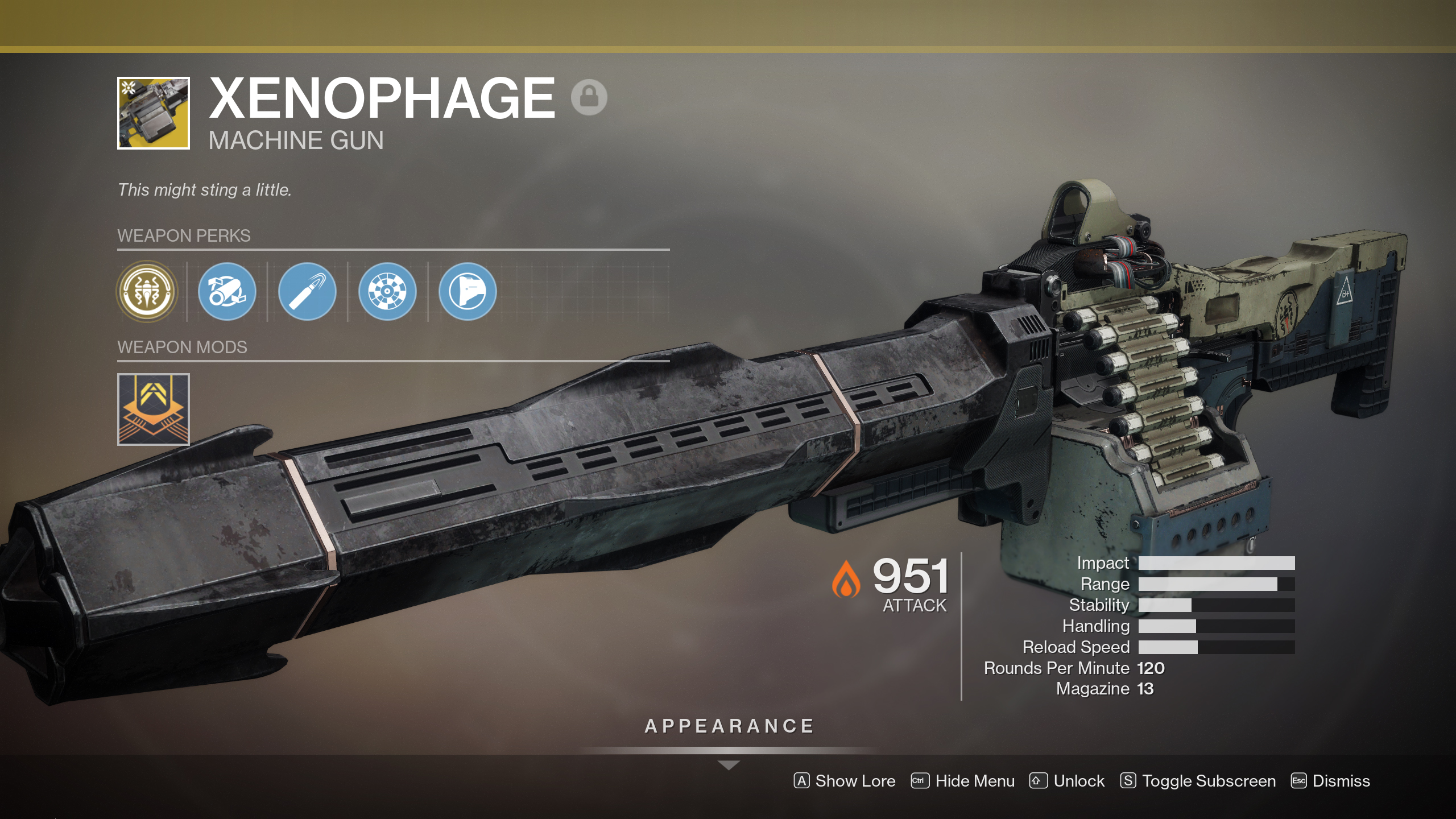 Xenophage, the Destiny 2 machine gun with a bug in it, is