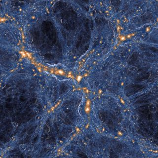 blue gas swirls around orange galaxies
