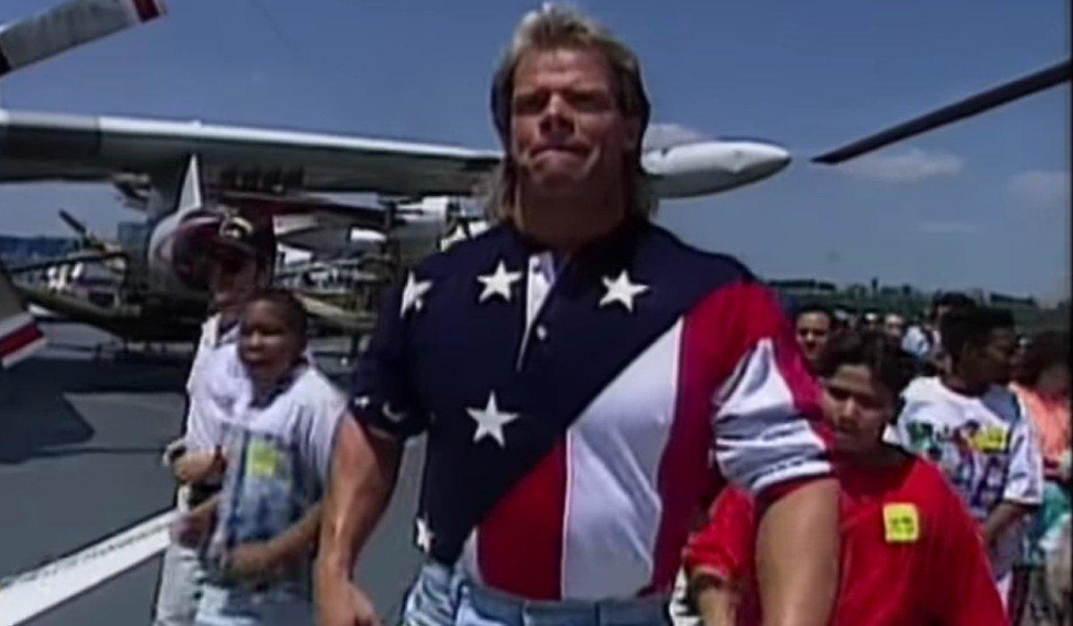 Lex Luger walking down an airfield WWE
