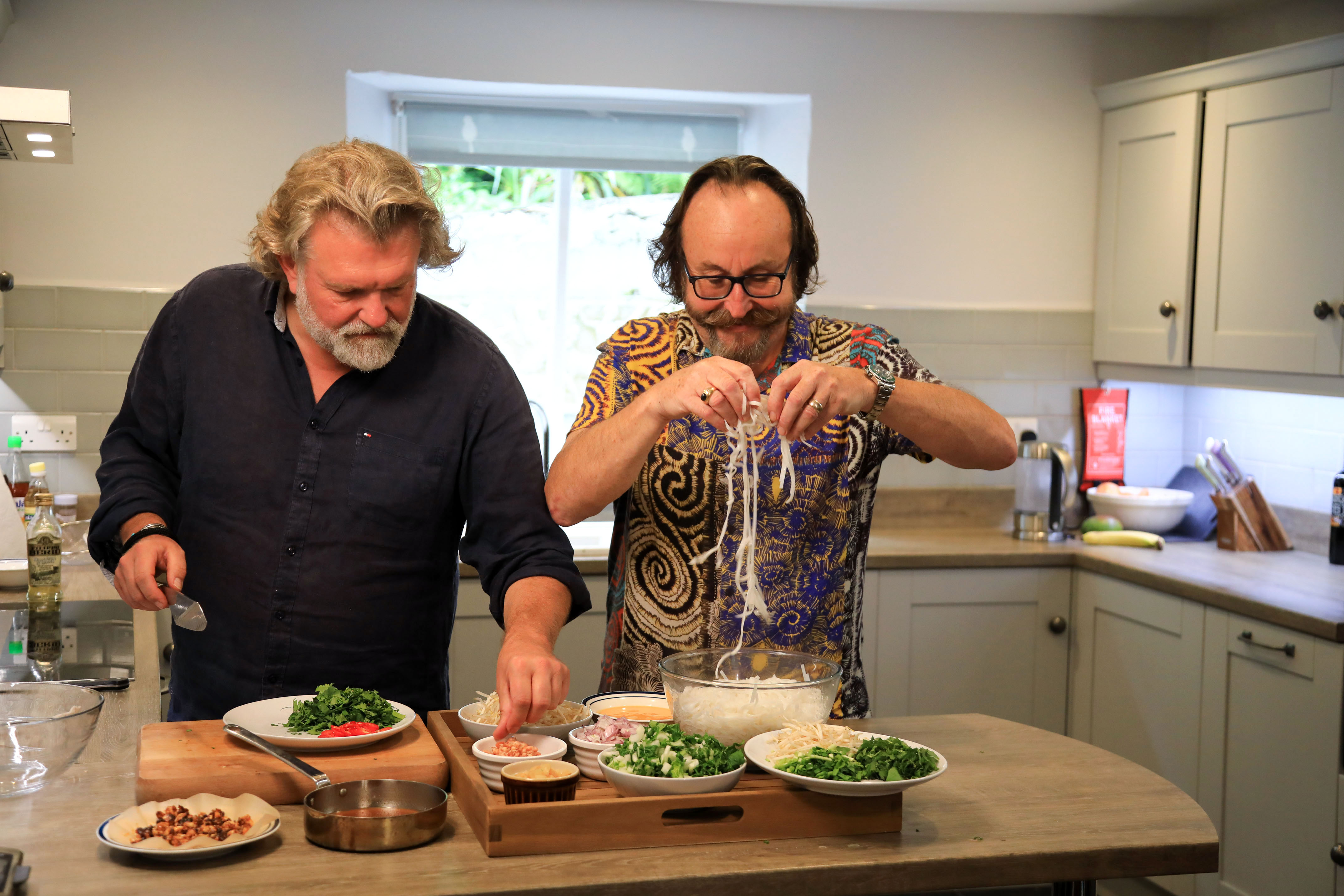 Doing what they do best...The Hairy Bikers in the kitchen.