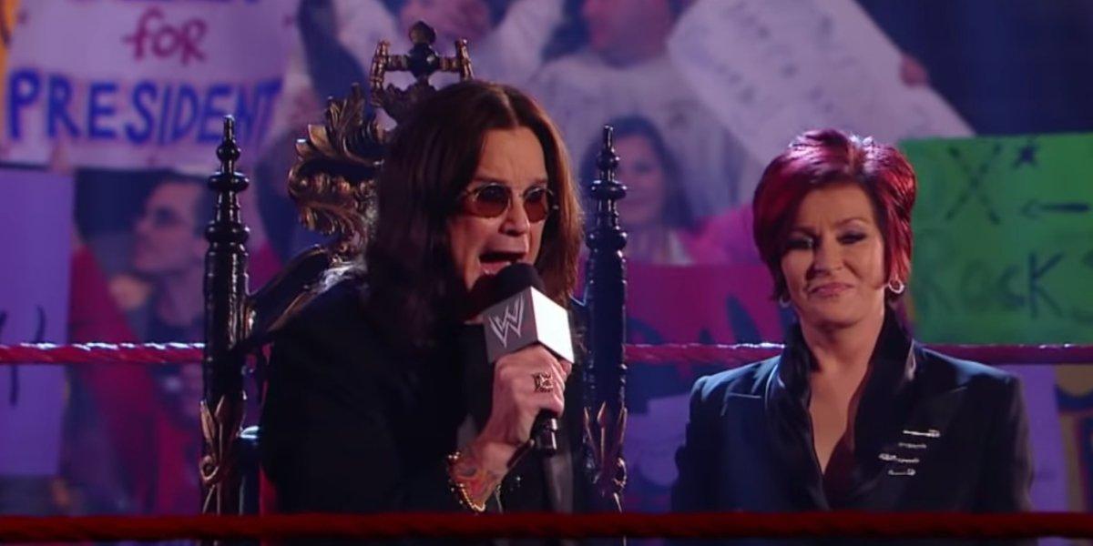 Ozzy Osbourne and Sharon Osbourne on Monday Night Raw