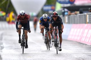 Dan Martin (left) finishes with Egan Bernal in the leading GC group on stage 6 of the 2021 Giro d'Italia