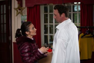 Leyla is eager to rehearse the panto kissing scene with Liam in Emmerdale