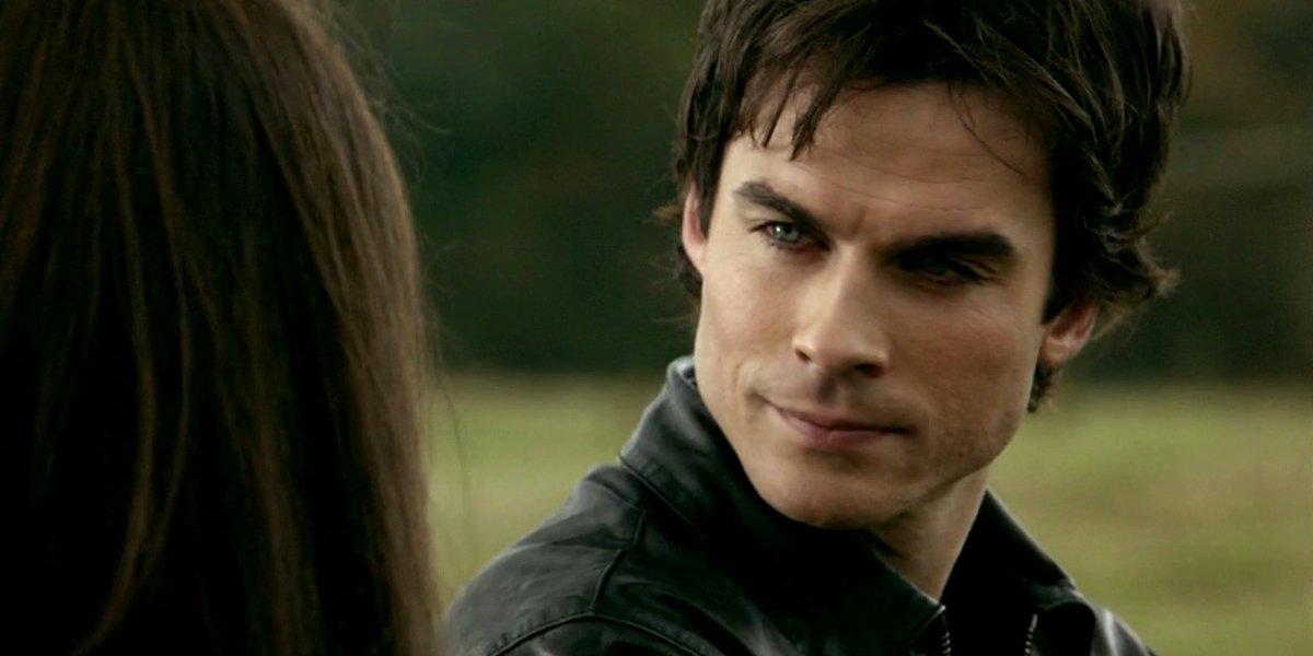 The Vampire Diaries Damon looks at Elena Ian Somerhalder