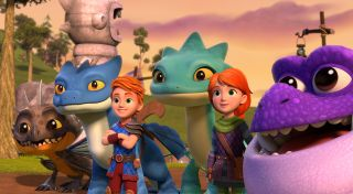 Twins Dak and Leyla with their gang of friendly dragons.