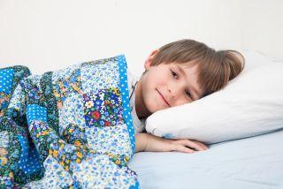 A little boy lies awake in his bed.
