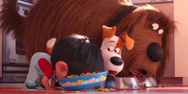 The Secret Life Of Pets 2 Max and Duke and child eat from bowls