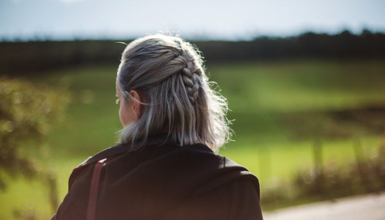 Woman looking away - stock photo