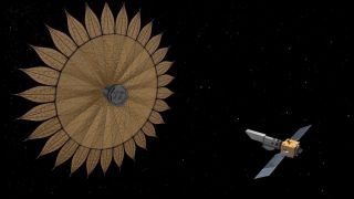 An artist's depiction of a sunflower-shaped starshade that could help space telescopes find and characterize alien planets.