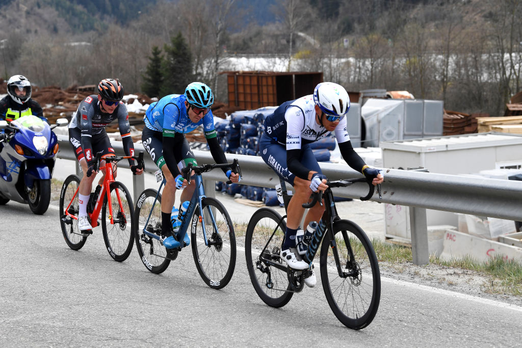 INNSBRUCK AUSTRIA APRIL 19 Alessandro De Marchi of Italy and Team Israel StartUp Nation Marton Dina of Hungary and EoloKometa Cycling Team Felix Engelhardt of Germany and Tirol KTM Cycling Team during the 44th Tour of the Alps 2021 Stage 1 a 1406km stage from Brixen to Innsbruck Breakaway TourofTheAlps TouroftheAlps on April 19 2021 in Innsbruck Austria Photo by Tim de WaeleGetty Images