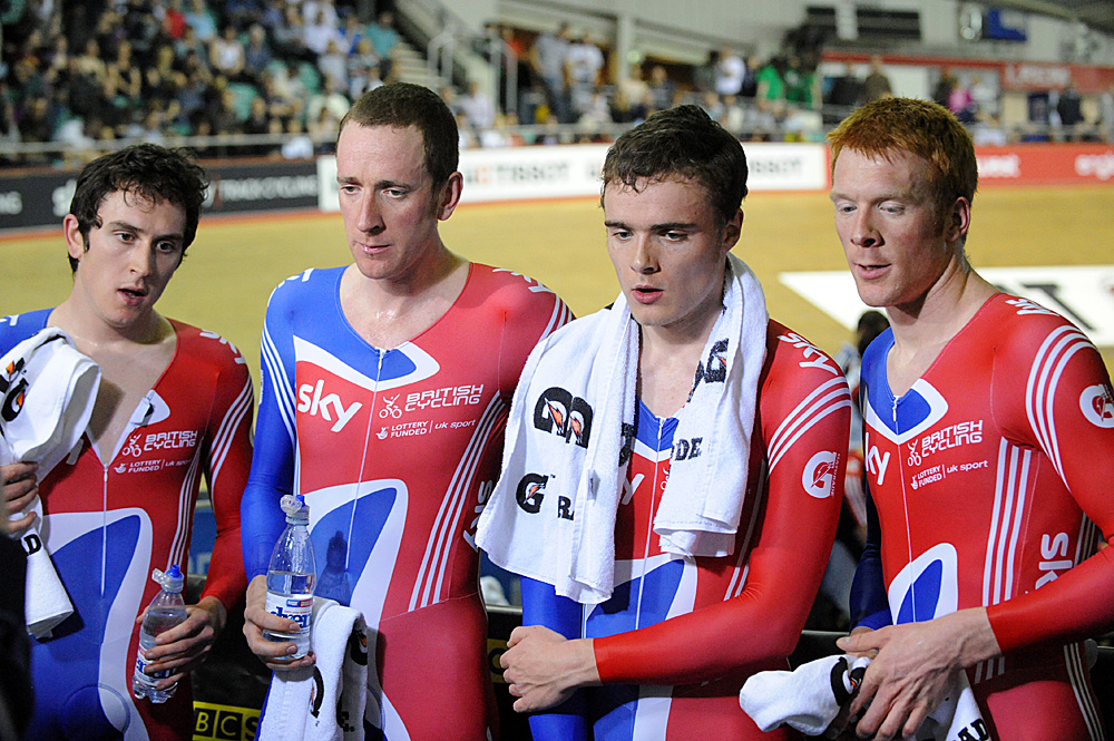TV interview, Britain wins team pursuit, Manchester Track World Cup 2011