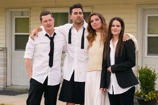 614 - Patrick (Noah Reid), David (Dan Levy), Alexis (Annie Murphy), Stevie (Emily Hampshire)