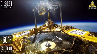 The Icarus craft plays vinyl in space