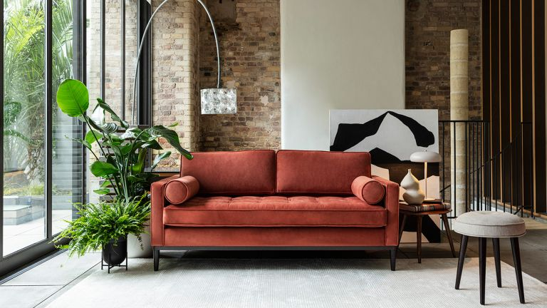 Model 02 Velvet 2 Seater Sofa - Brick, Swyft