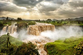 The Nile River begins high up in the Ethiopian Highlands near the Blue Nile Falls shown here.